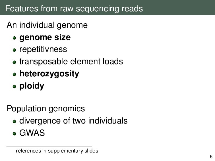 Features from raw sequencing reads An individua...