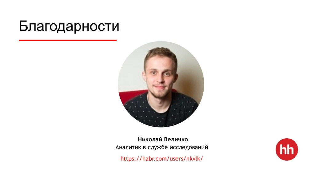 Благодарности Николай Величко Аналитик в службе...