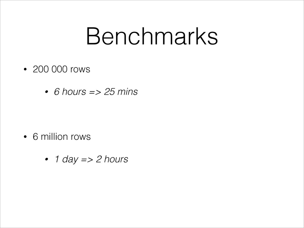 Benchmarks • 200 000 rows • 6 hours => 25 mins ...