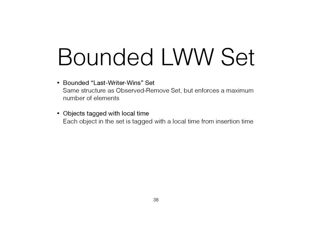 """Bounded LWW Set • Bounded """"Last-Writer-Wins"""" Se..."""