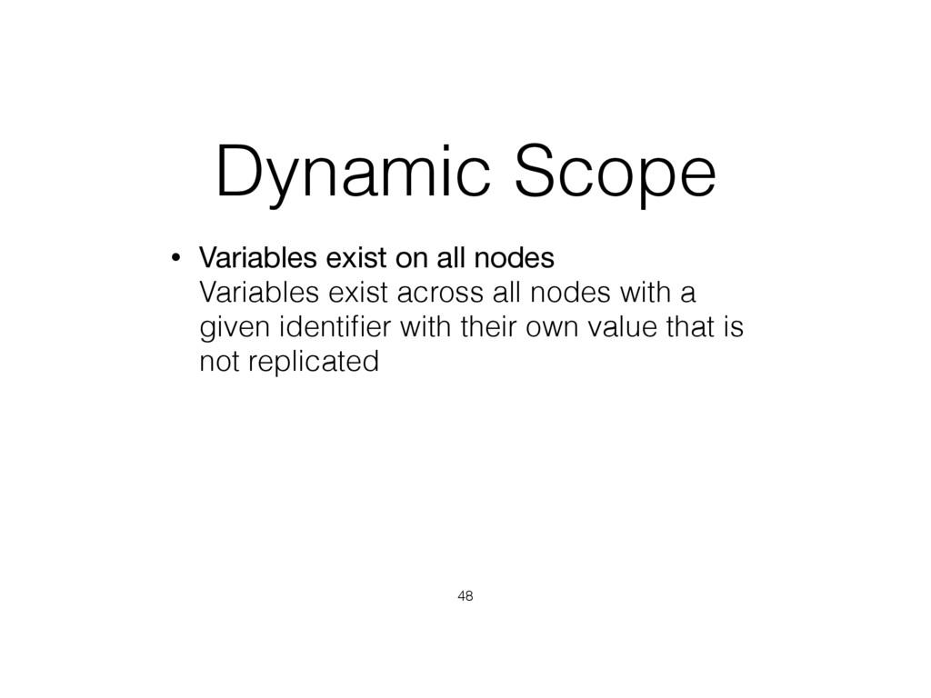 Dynamic Scope • Variables exist on all nodes V...