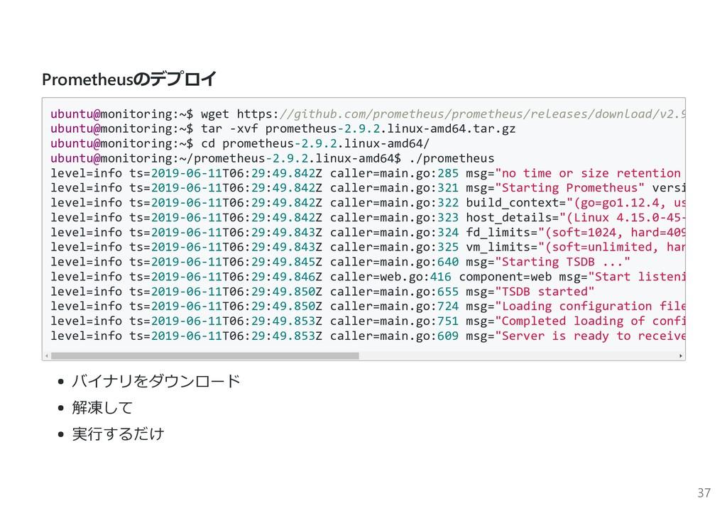Prometheusのデプロイ ubuntu@monitoring:~$ wget https...