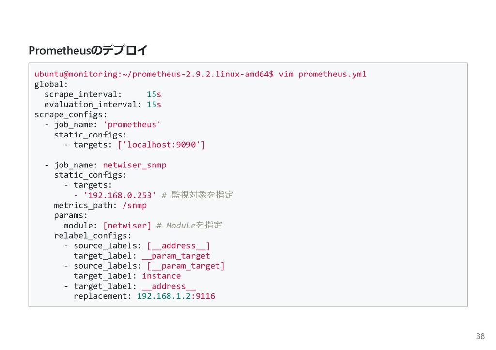 Prometheusのデプロイ ubuntu@monitoring:~/prometheus-...