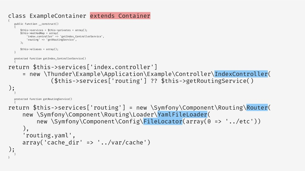 class ExampleContainer extends Container { publ...