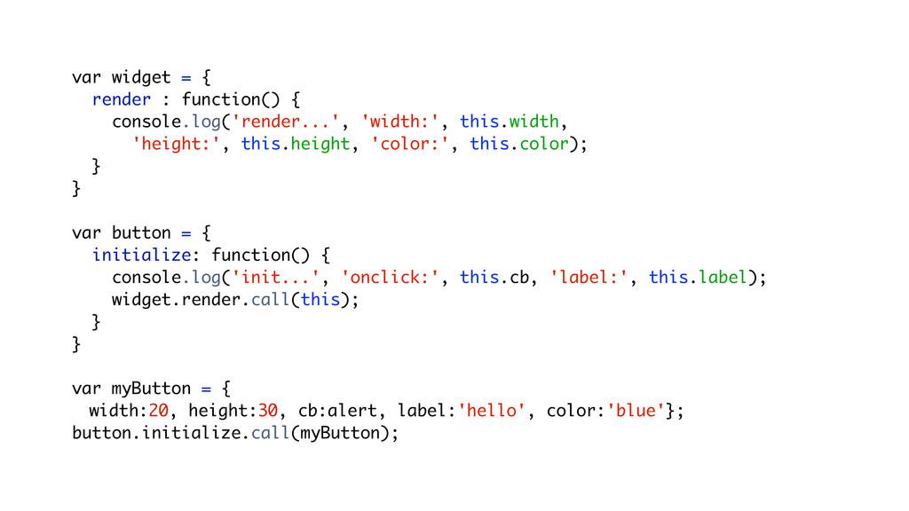 var widget = { render : function() { console.lo...