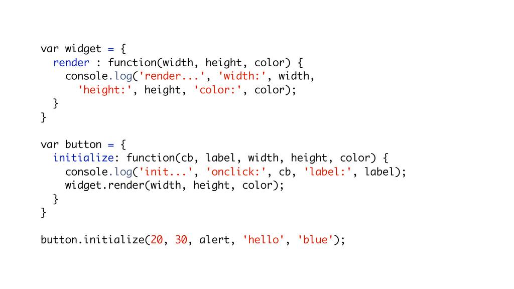 var widget = { render : function(width, height,...