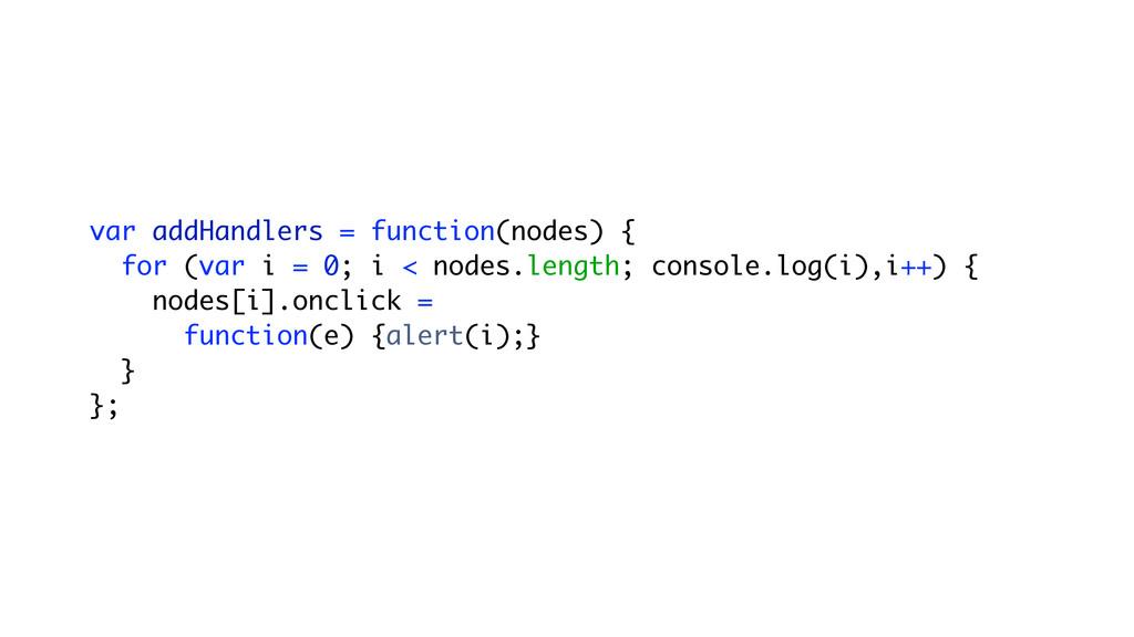 var addHandlers = function(nodes) { for (var i ...