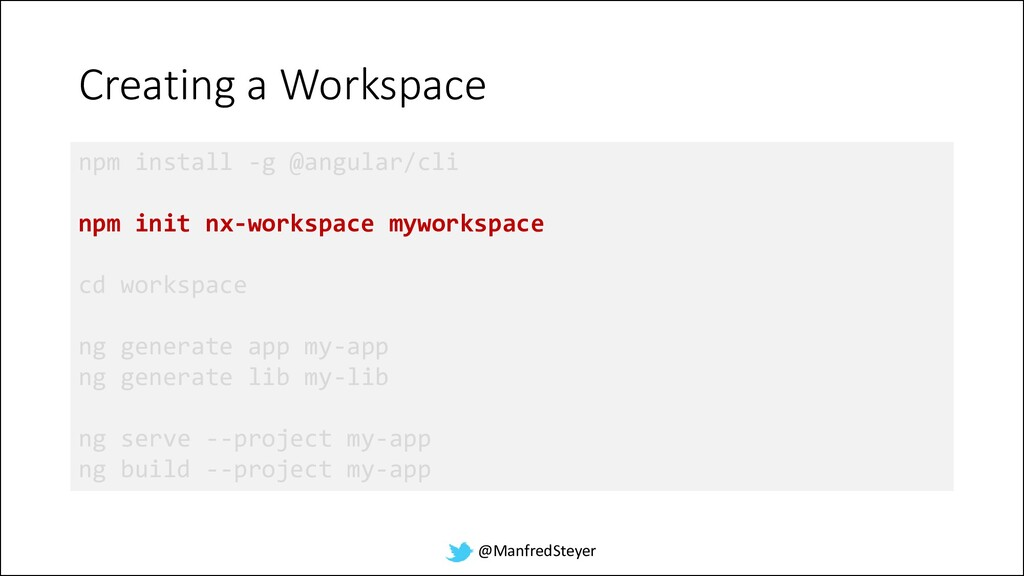 @ManfredSteyer Creating a Workspace npm install...