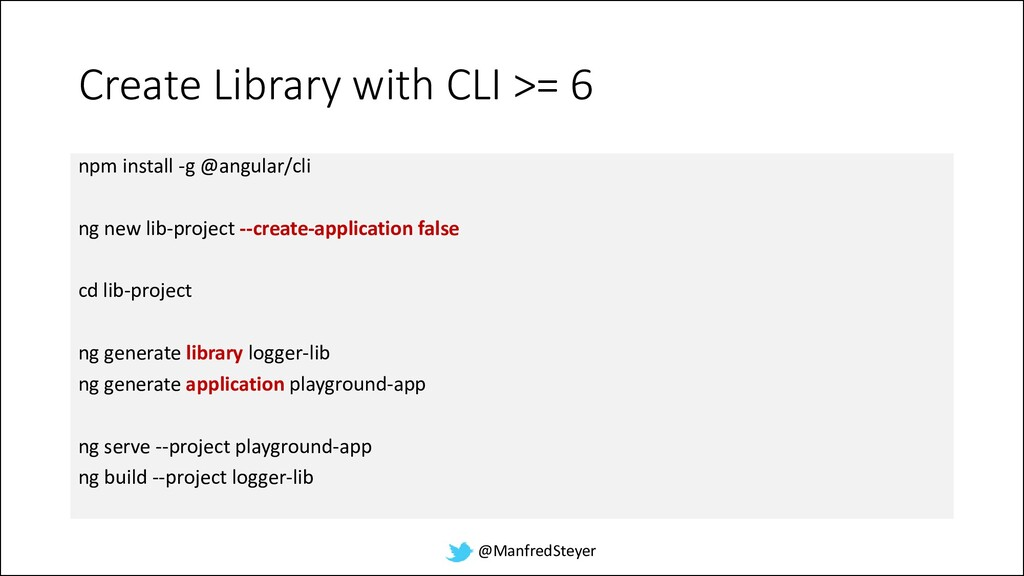 @ManfredSteyer Create Library with CLI >= 6 npm...