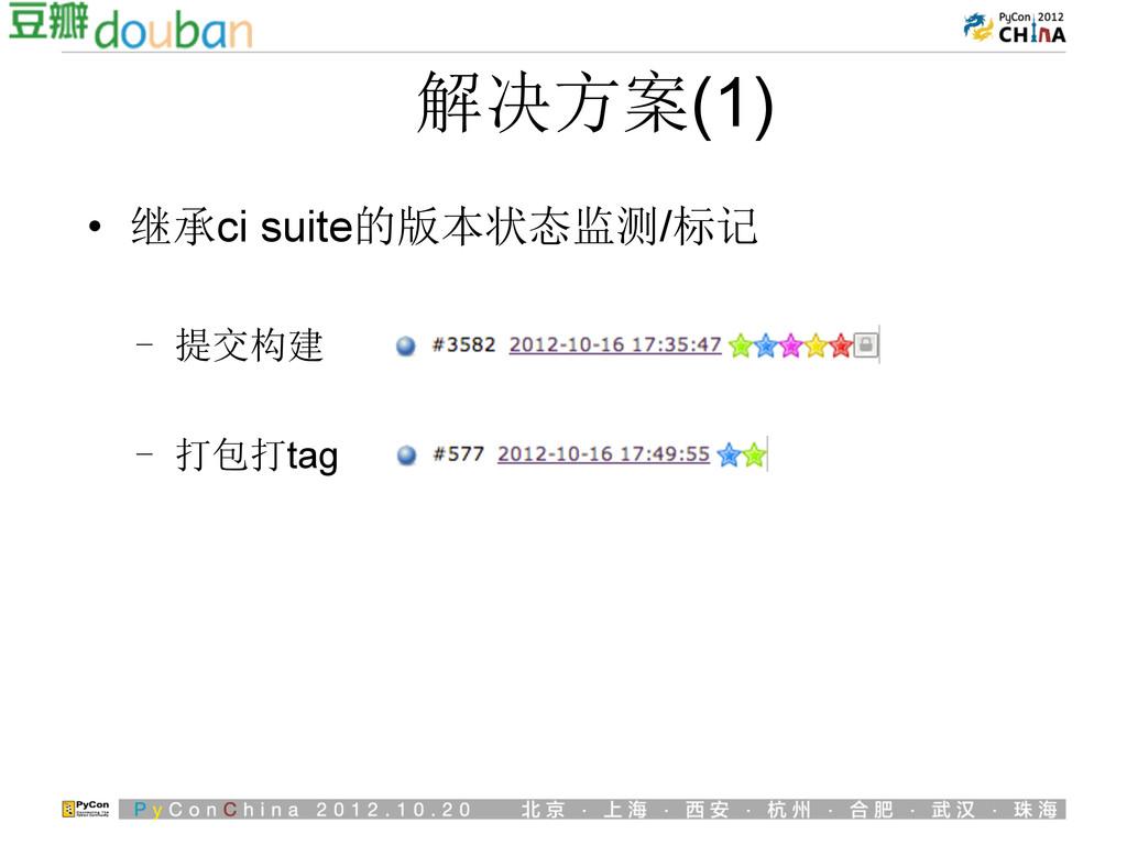 解决方案(1) • 继承ci suite的版本状态监测/标记 - 提交构建 - 打包打t...
