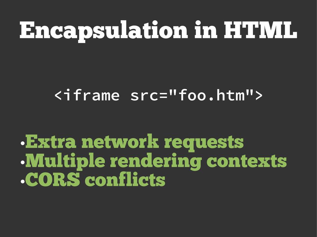 """Encapsulation in HTML <iframe src=""""foo.htm""""> ● ..."""