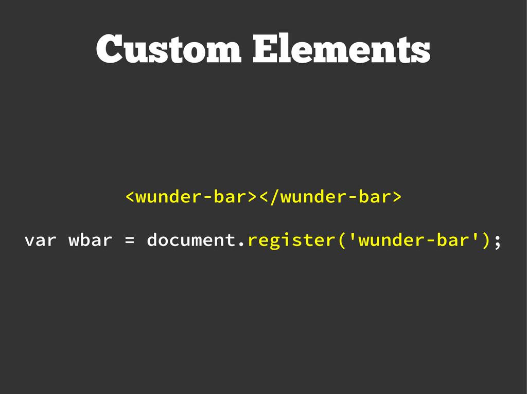 Custom Elements var wbar = document.register('w...