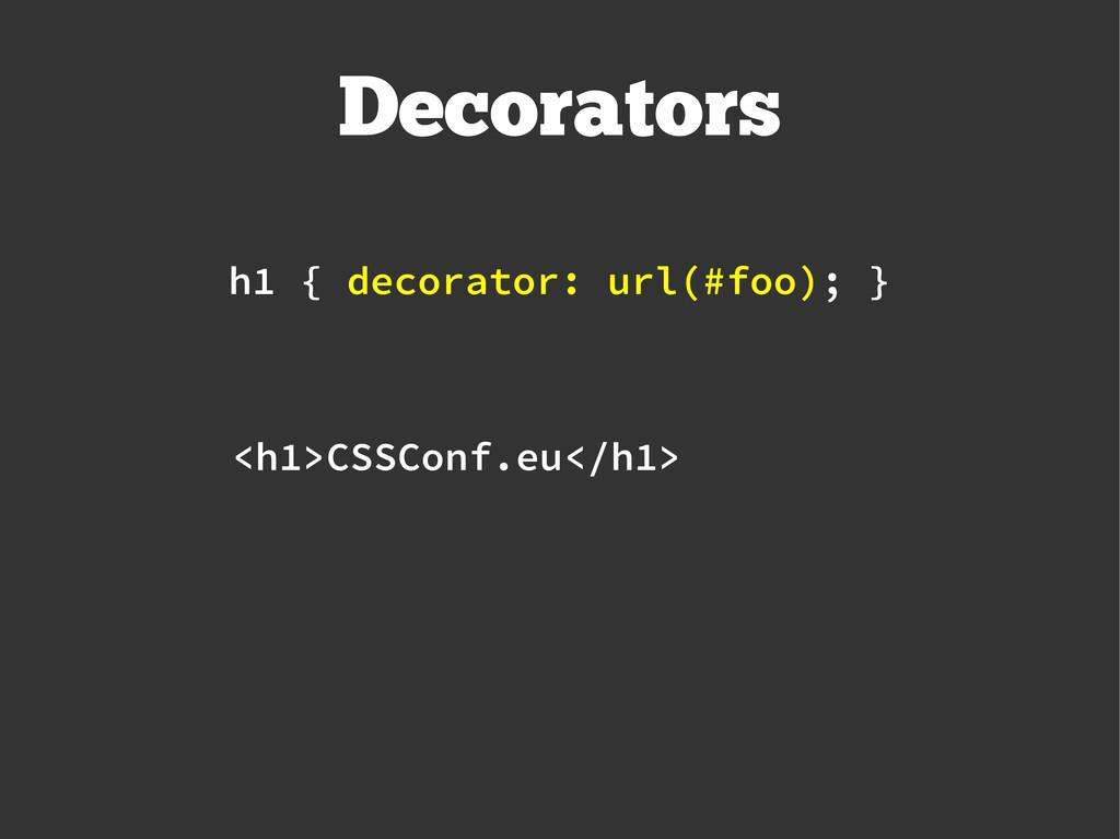 Decorators <h1>CSSConf.eu</h1> h1 { decorator: ...