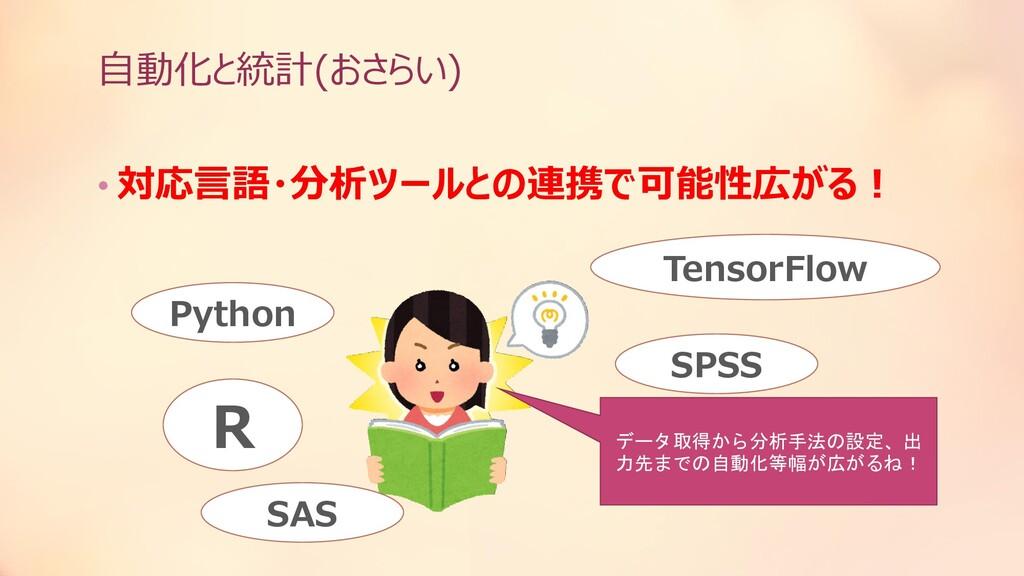 自動化と統計(おさらい) • 対応言語・分析ツールとの連携で可能性広がる! R TensorF...