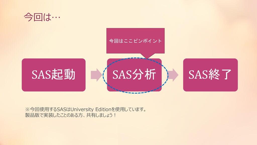 今回は… SAS起動 SAS分析 SAS終了 ※今回使用するSASはUniversity Ed...