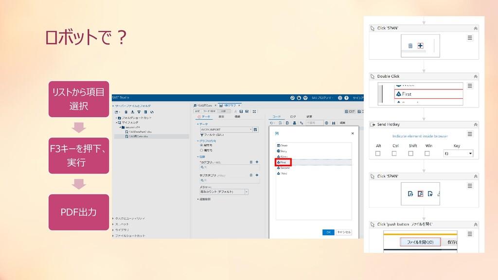ロボットで? リストから項目 選択 F3キーを押下、 実行 PDF出力
