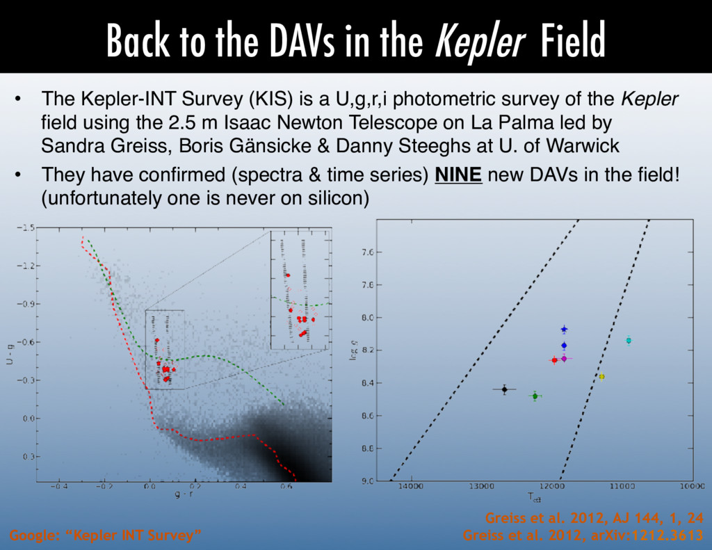 Back to the DAVs in the Kepler Field •  The Kep...