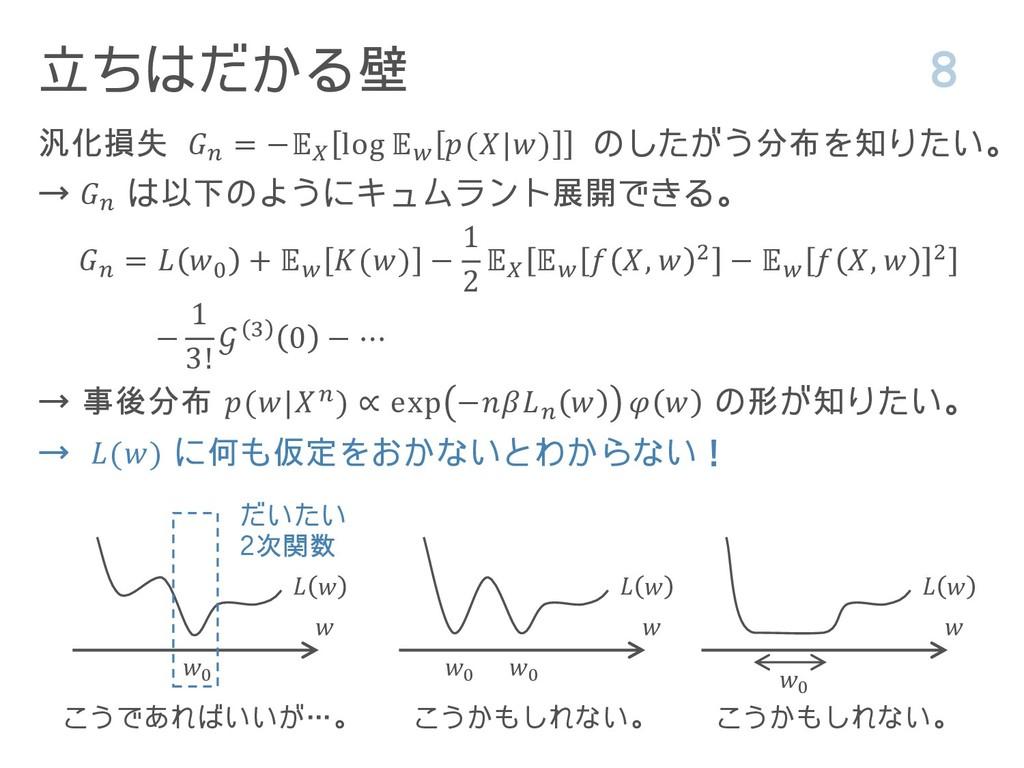 立ちはだかる壁 8 汎化損失  = − log  ( ) のしたがう分布を知りたい。 →  は...