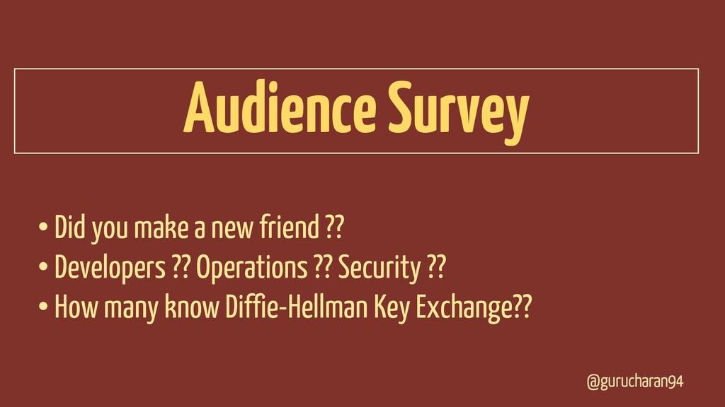 @gurucharan94 Audience Survey • Did you make a ...