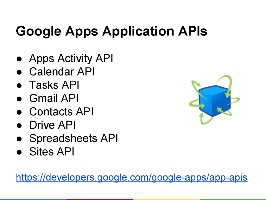 Google Apps Application APIs ● Apps Activity AP...
