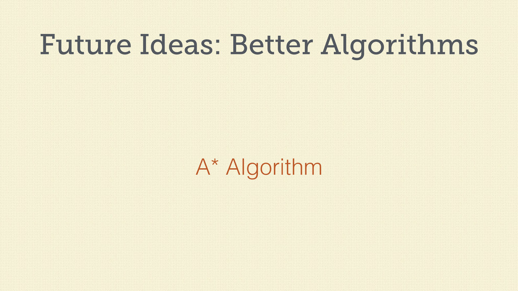 Future Ideas: Better Algorithms A* Algorithm