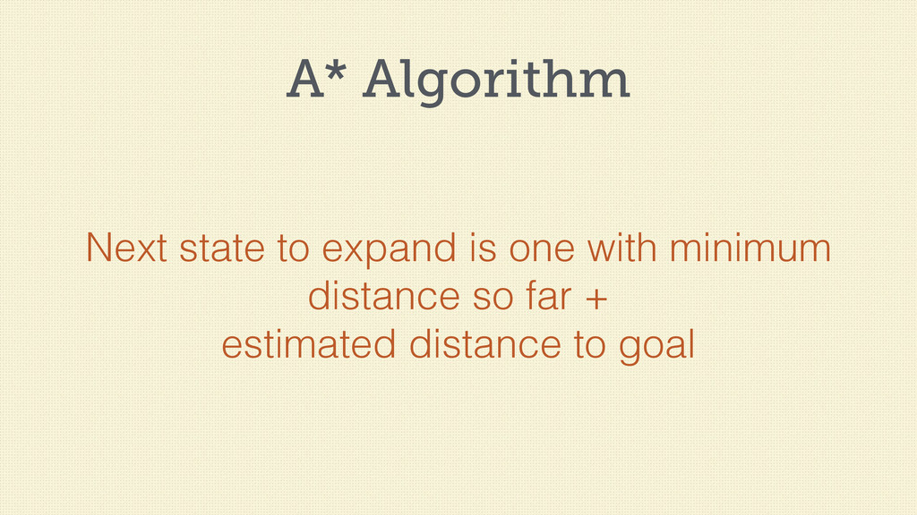 A* Algorithm Next state to expand is one with m...