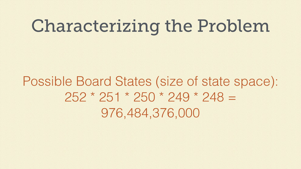 Characterizing the Problem Possible Board State...