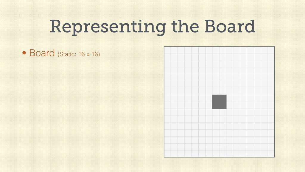Representing the Board • Board (Static: 16 x 16)