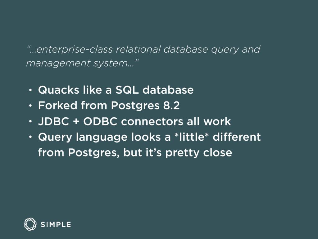 """""""…enterprise-class relational database query an..."""