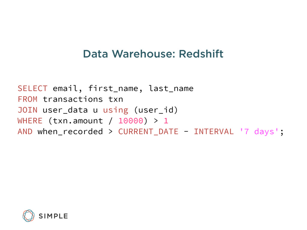 Data Warehouse: Redshift SELECT email, first_na...