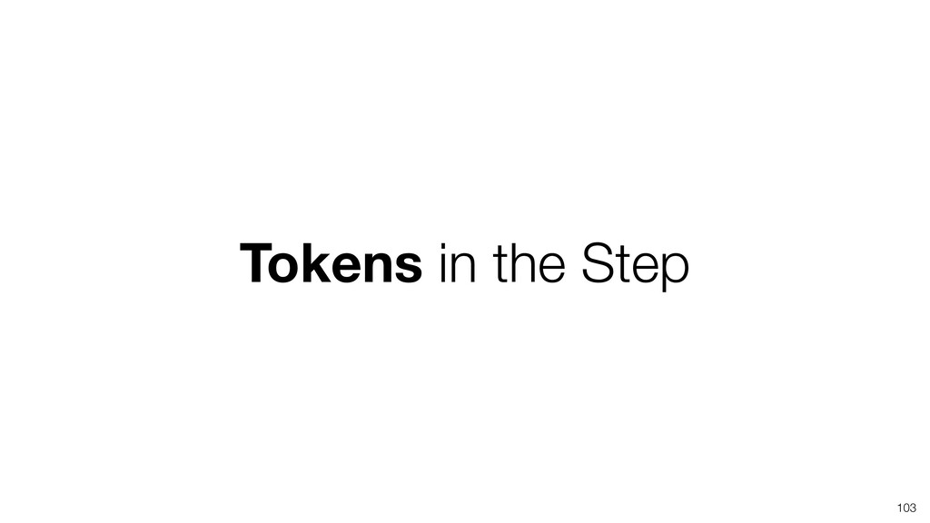 Tokens in the Step 103