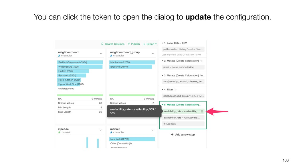 106 You can click the token to open the dialog ...