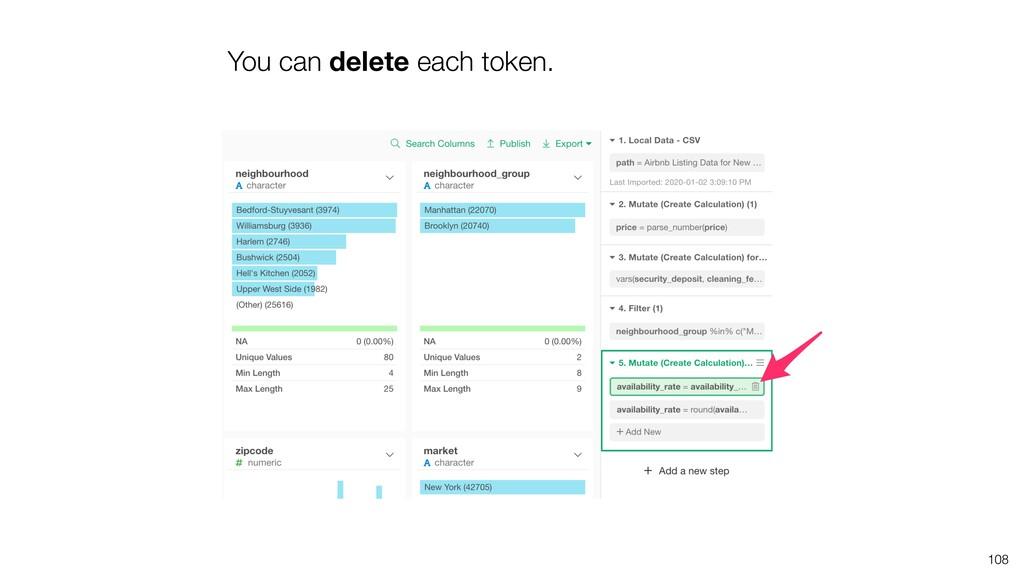 You can delete each token. 108