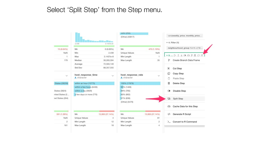 Select 'Split Step' from the Step menu.
