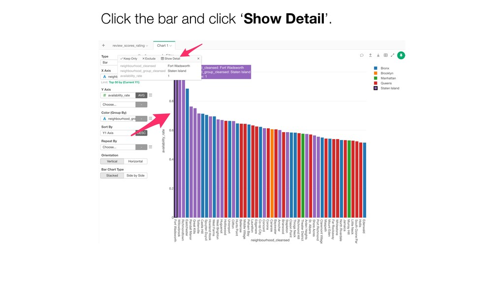 Click the bar and click 'Show Detail'.