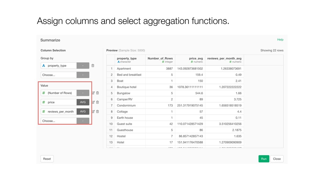 Assign columns and select aggregation functions.