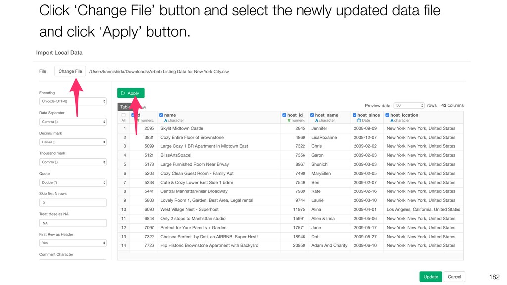 182 Click 'Change File' button and select the n...
