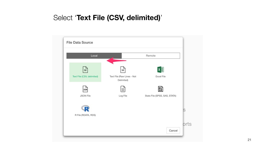 Select 'Text File (CSV, delimited)' 21