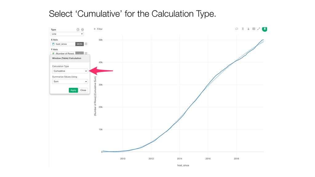 Select 'Cumulative' for the Calculation Type.