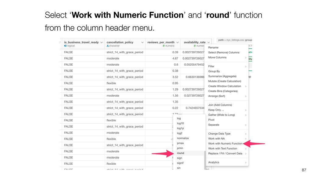 87 Select 'Work with Numeric Function' and 'rou...