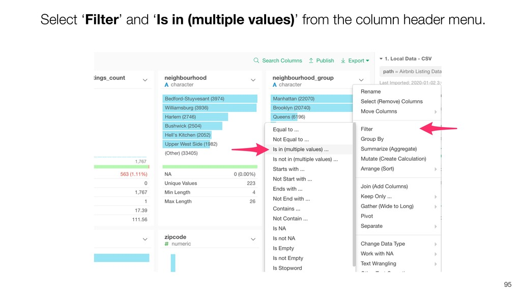 Select 'Filter' and 'Is in (multiple values)' f...