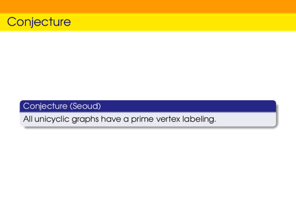 Conjecture Conjecture (Seoud) All unicyclic gra...