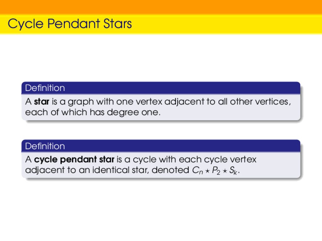 Cycle Pendant Stars Definition A star is a graph...