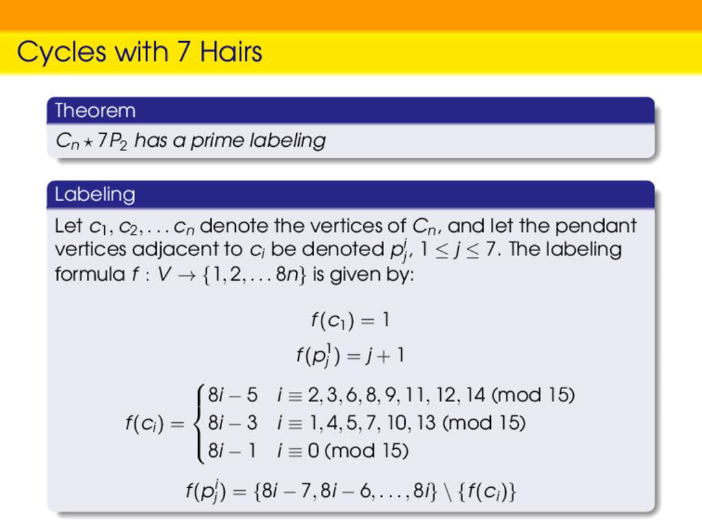 Cycles with 7 Hairs Theorem Cn 7P2 has a prime ...