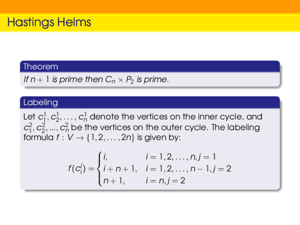 Hastings Helms Theorem If n + 1 is prime then C...