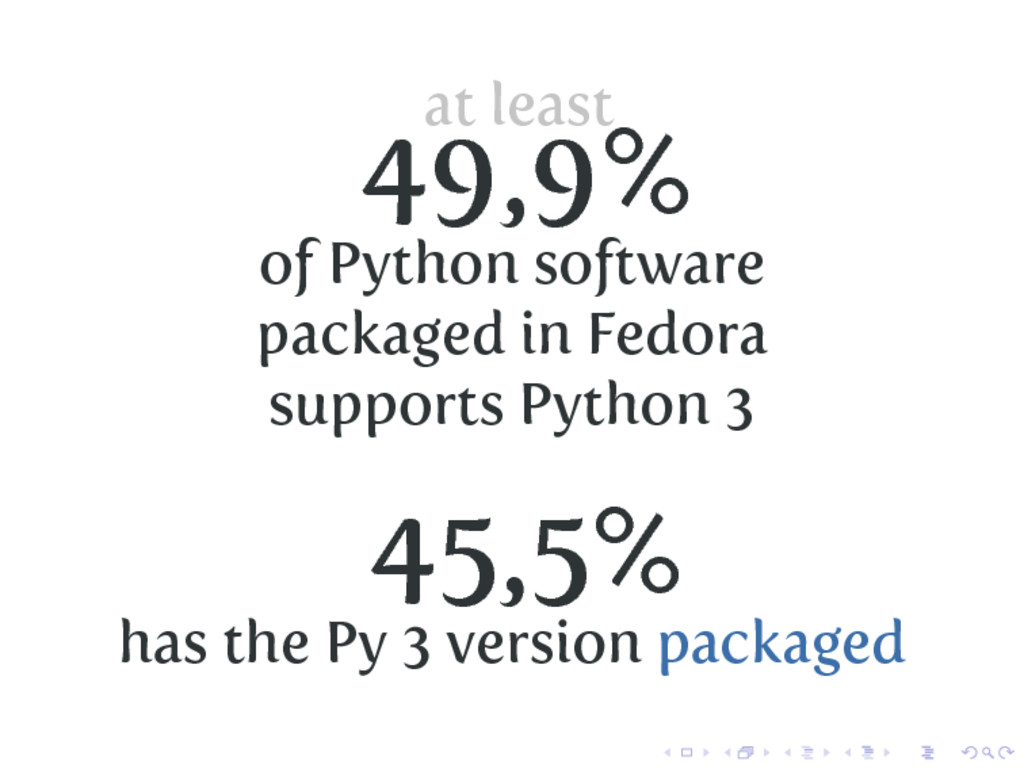at least 49,9% of Python software packaged in F...