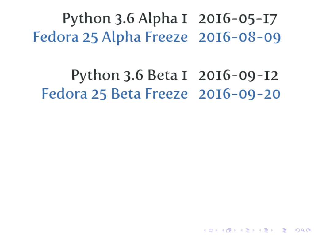Python 3.6 Alpha 1 2016-05-17 Fedora 25 Alpha F...