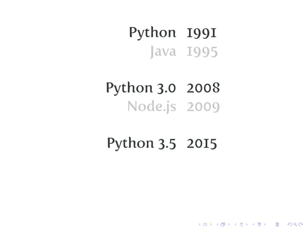 Python 1991 Java 1995 Python 3.0 2008 Node.js 2...