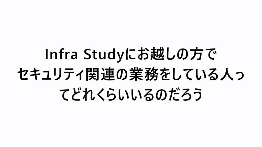 Infra Studyにお越しの方で  セキュリティ関連の業務をしている人っ てどれくらいいる...