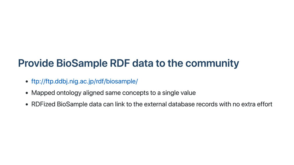 Provide BioSample RDF data to the community ftp...
